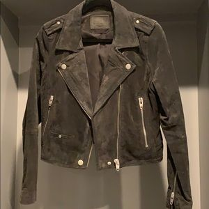 Grey suede leather Moto jacket
